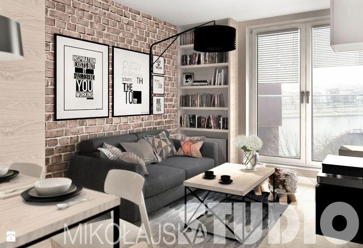 beton-drewno-cegła-salon - zdjęcie od MIKOŁAJSKAstudio - Salon - Styl Industrialny - MIKOŁAJSKAstudio