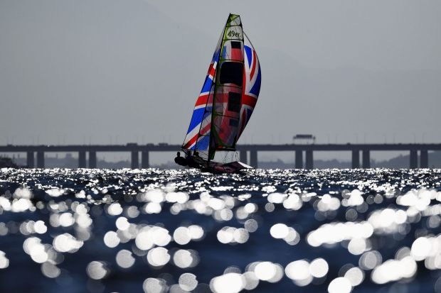 Dylan Fletcher-Scott of Great Britain and Alain Sign of Great Britain compete in the Men's 49er class at the Rio 2016 ...