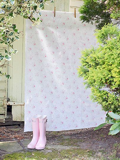 pink rainboots and charming vintage print