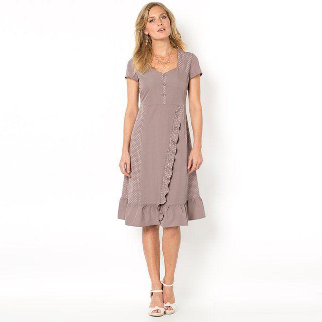 Peachskin Feel Microfibre Dress with Ruffle Trim- brown- 22, brown