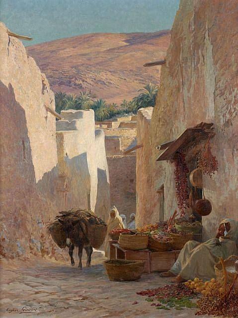 Eugène Girardet (1853-1907) - rue animée de Bou-saada