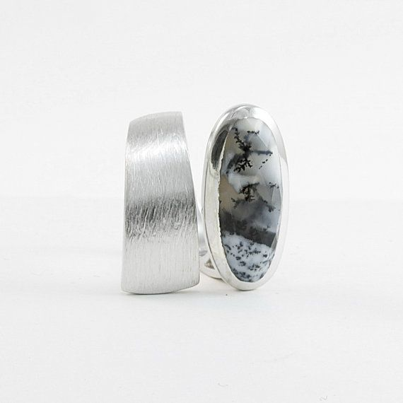 Dendritic agate ring in brushed sterling silver Wide gemstone ring Dendritic opal Black and white band ring Edgy jewelry