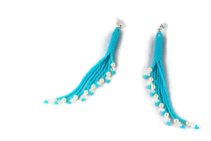 Aqua Beaded Crystal and Pearl Tassel Earrings
