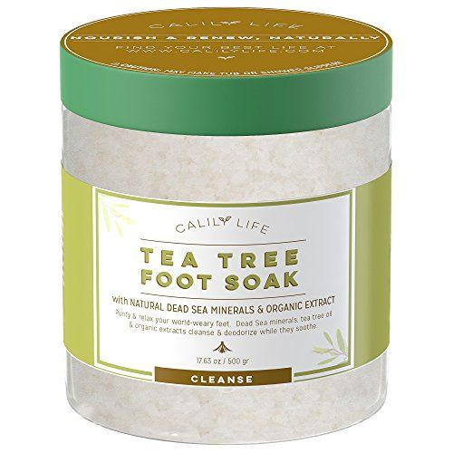 Calily Life Organic Tea Tree Oil Foot Soak with Natural Dead Sea Minerals , 17.5 Oz. - Foot Bath Eliminates Odors, Fights Fungus, Softens and Refreshes Feet - Rejuvenate and Detox Tired and Achy Feet. For product & price info go to:  https://beautyworld.today/products/calily-life-organic-tea-tree-oil-foot-soak-with-natural-dead-sea-minerals-17-5-oz-foot-bath-eliminates-odors-fights-fungus-softens-and-refreshes-feet-rejuvenate-and-detox-tired-and-achy-feet/