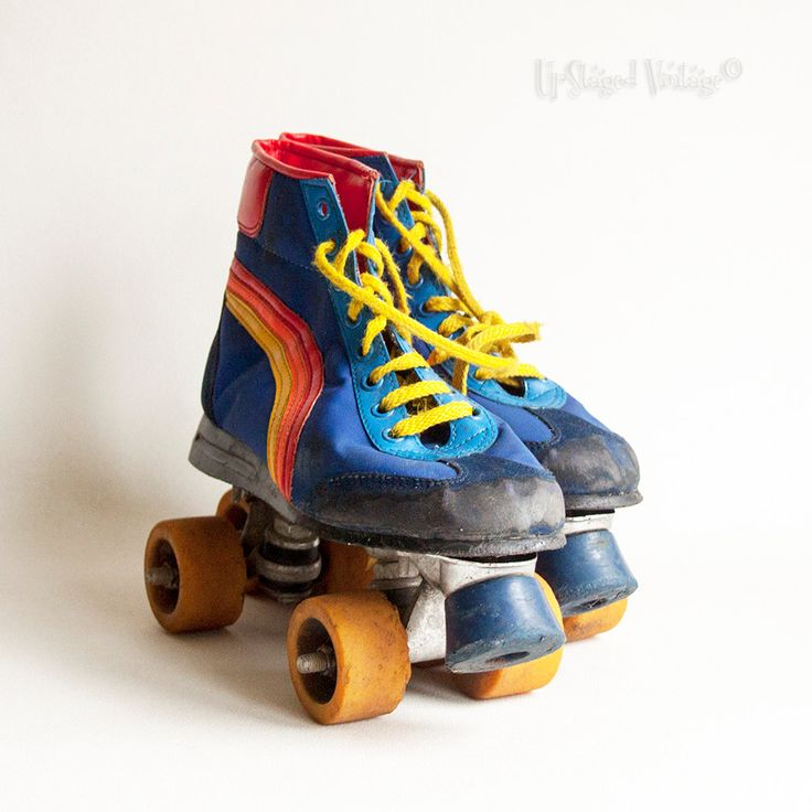 Vintage Retro 1970s Roller Skates UK Size 7 Rainbow Roller Boots by UpStagedVintage on Etsy
