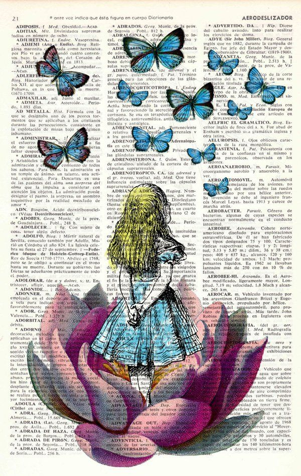 PRRINT is a team of artists based in Palma de Mallorca, Spain who created the cool antique and vintage illustrations printed on upcycled old dictionary book pages.