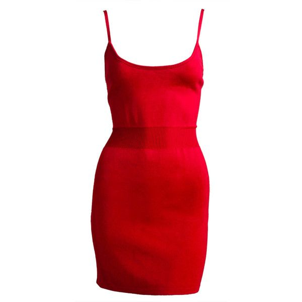AZZEDINE ALAIA red mini dress with tags ($550) ❤ liked on Polyvore featuring dresses, short spaghetti strap dress, red knit dress, red mini dress, alaïa and red dress