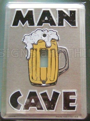 Man Cave Beer Mug LIGHT SWITCH PLATE COVER wall decor sign bar room tin garage