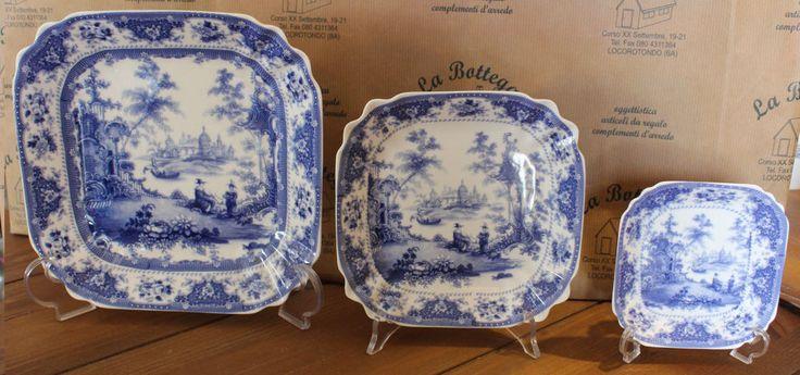 Set 3 piatti quadrati porcellana blu bianca LAMART  chic