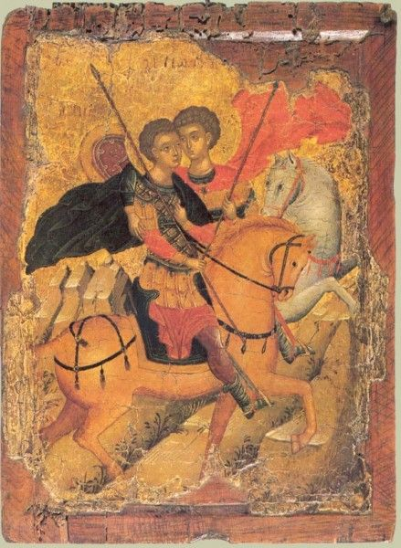 Свв.Георгий и Димитрий на конях. Перв. половина XV в. Византия. Частная коллекция