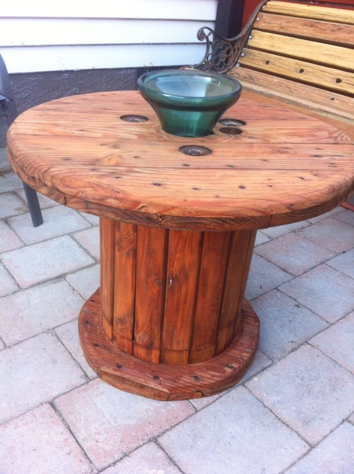 cable drum recycled into outdoor coffee table