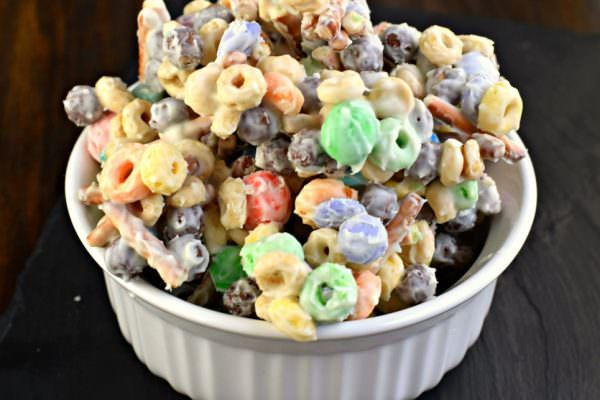 For an easy treat, mix together cereal, pretzels, candy and melted white chocolate!