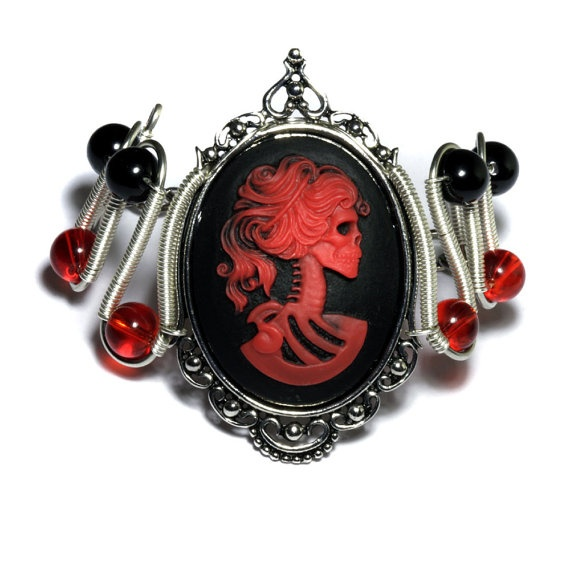 Steamgoth Bracelet  Red and Black Skeleton by CatherinetteRings