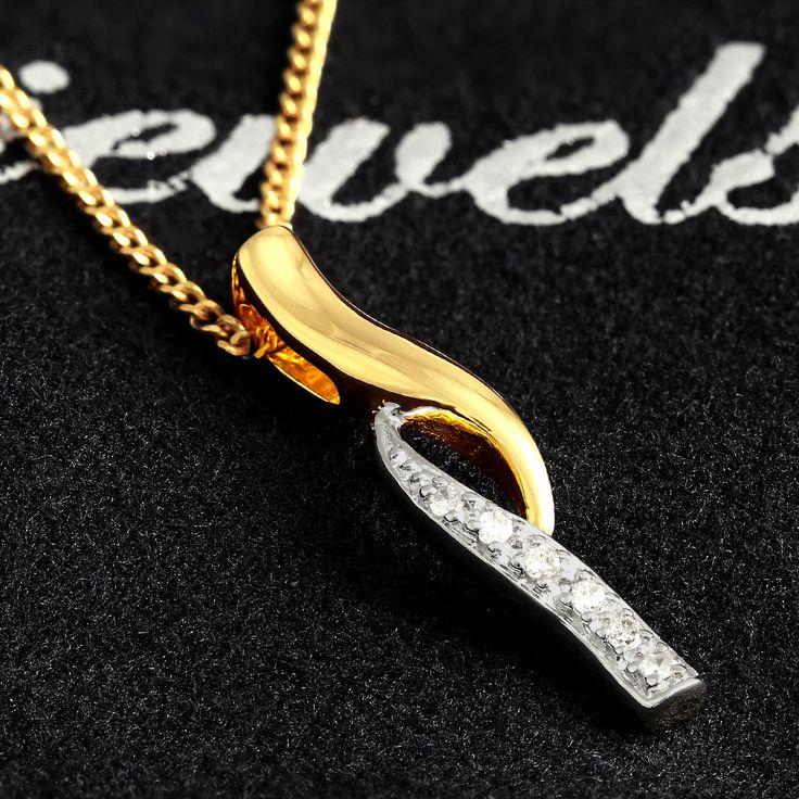 9ct Yellow Gold Diamond Double Swirl Slider Pendant $83 - purejewels.com.au