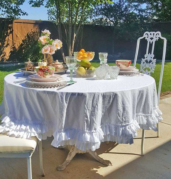 Double Ruffle Tablecloth with shabby edges-Brunch by MyHauteStuff