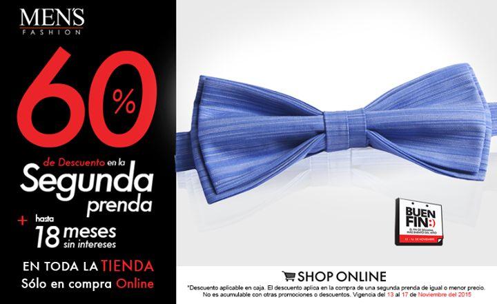 Complementa tu vestimenta con #accesorios en este #BuenFin. Llévate el segundo con el 60% OFF en tienda online o 50% OFF en sucursal. Visítanos o da clic: www.mensfashion.com.mx