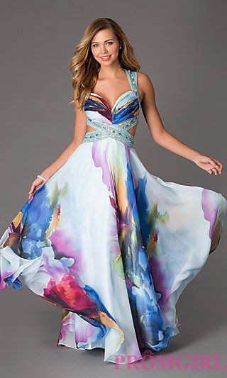 Long Floral Print Prom Dress by Dave and Johnny at PromGirl.com
