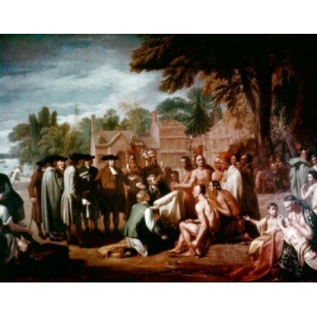 Penns Treaty with the Indians November 1683 West Benjamin (1738-1820American) Canvas Art - Benjamin West (18 x 24)