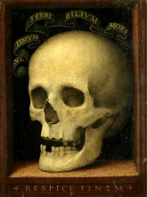 A sixteenth-century vanitas painting, Florentine School; inscribed with the Latin motto 'respice finem'/'reflect on the end'.