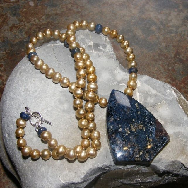 Necklace in Sterling Silver with FW Pearls, Lapis Lazuli & Pietersite Gems £49.50