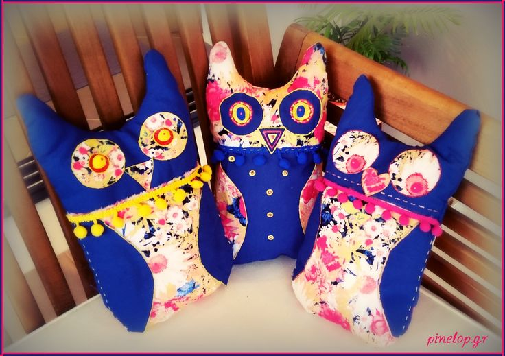 Handmade owl pillows from fabric! http://www.pinelop.gr/product-category/maxilaria/