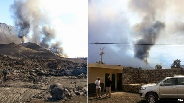 The Big Wobble Almanac : Cape Verde residents evacuated as Pico do Fogo vol...  A volcano has erupted in the Cape Verde islands, causing hundreds of residents living in the vicinity to be evacuated and a local airport to be closed. A large plume of smoke was seen rising over the Pico do Fogo volcano, starting on Sunday. It is the first time the volcano on the island of Fogo has erupted since 1995.