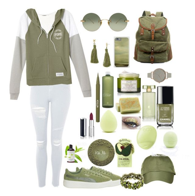 """Green grass 🌿💚📗🍏"" by ola-kruszyk on Polyvore featuring moda, Puma, Topshop, Victoria's Secret, TSD, Linda Farrow, Aqua, Olivia Burton, Fresh i Aveda"