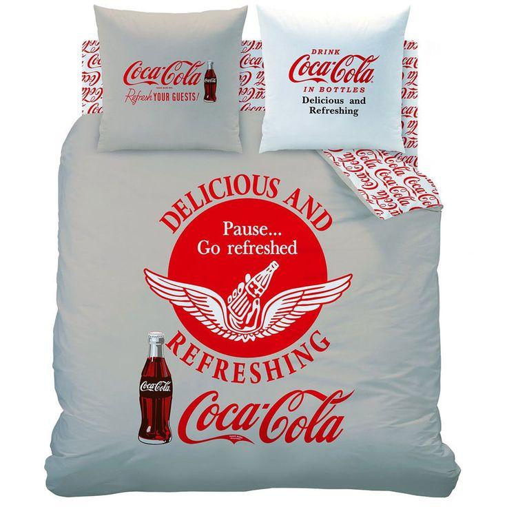 coca cola bedding love it parure de lit coca cola 240 cm gray red and white coca cola. Black Bedroom Furniture Sets. Home Design Ideas