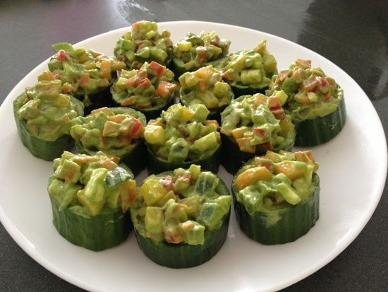 """CUCUMBER SALAD CUPS (with avocado-cilantro dressing) A visually-pleasing and super tasty alternative to everyday salad.  When asked to """"bring a salad"""" to a get-together, this is always a huge hit!"""