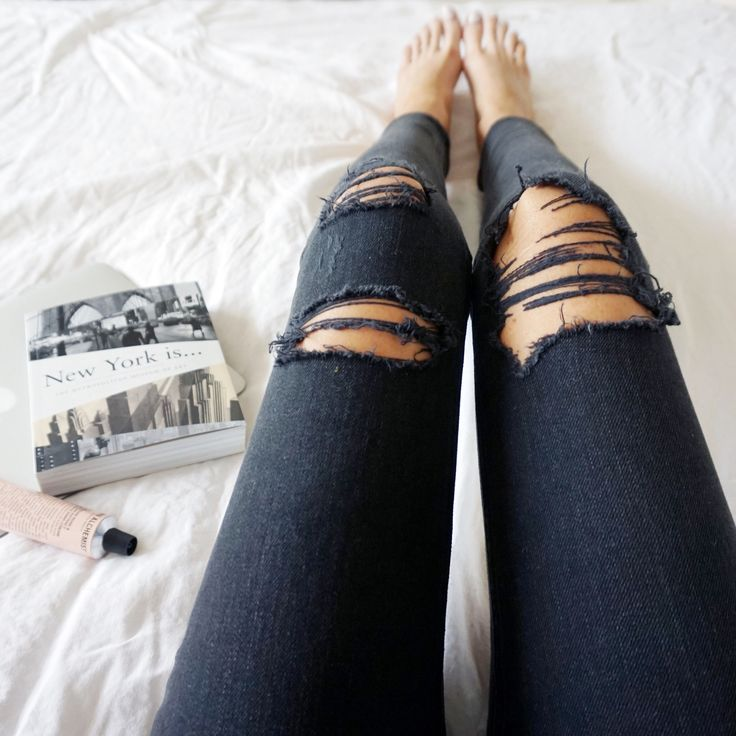 Black knee ripped skinny disco jeans