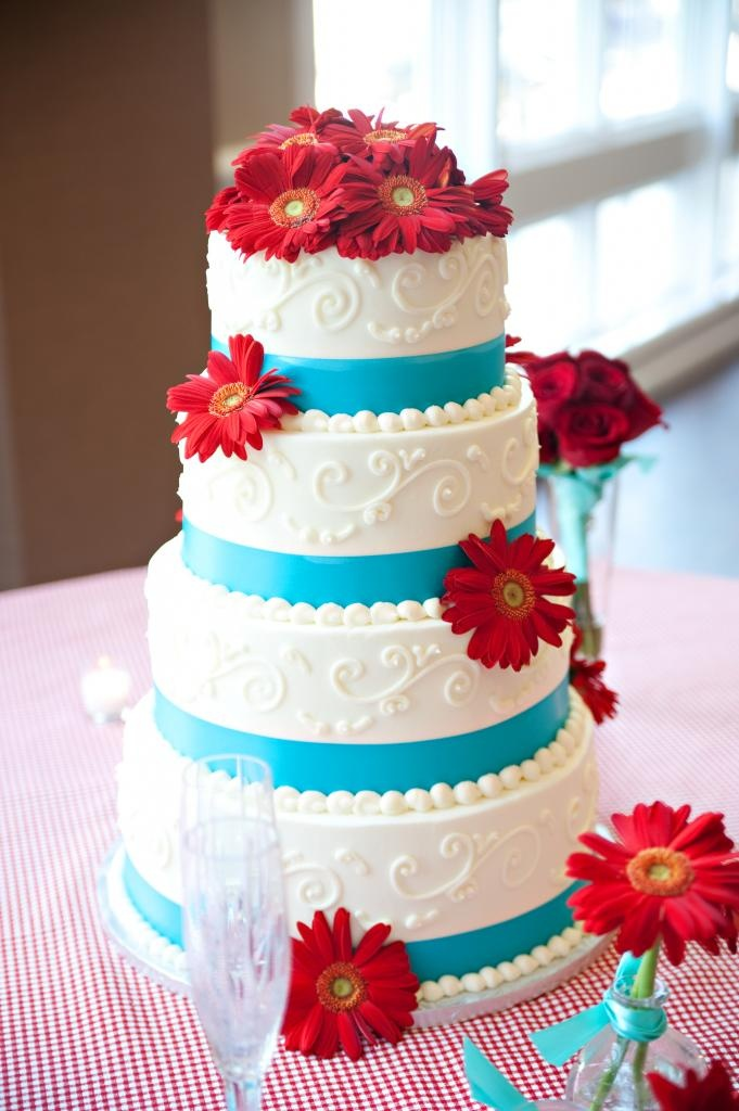 Our wonderful red and aqua wedding cake made by Colleen and www.colleenscakes.com .. the cake tasted even better than it looked!