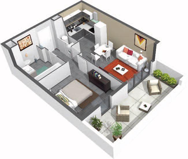 plan 3d t2 domaine des belles vues la r sidence pens e. Black Bedroom Furniture Sets. Home Design Ideas