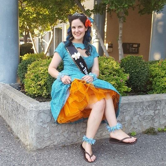 Congratulations to our beautiful @chelseabarg who came in 3rd place at the Annual Tiki Doll Pinup Contest! #kelowna #pinup #doll #tattoo #dressup #okanagan #contest #beauty #oldschool #fun #hair #updo #flowers #crown Hair @sjacobi