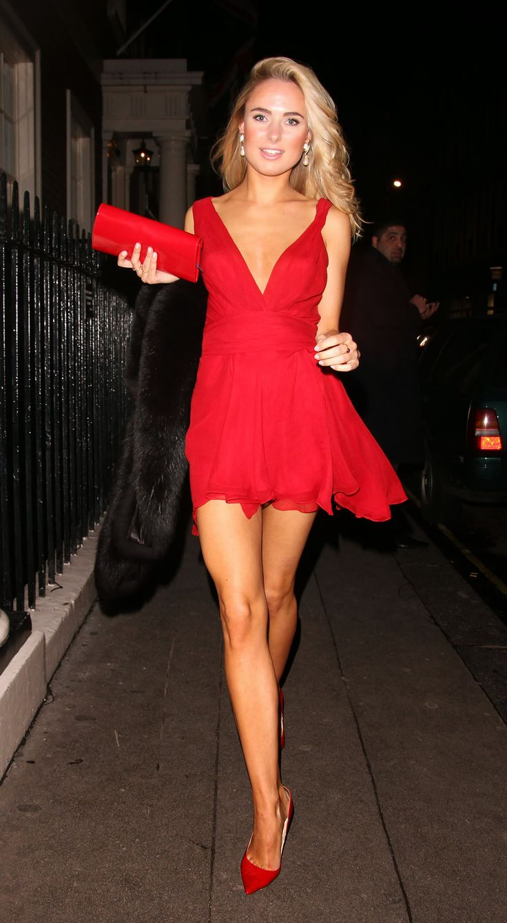 Kimberly Garner wears Red Dress