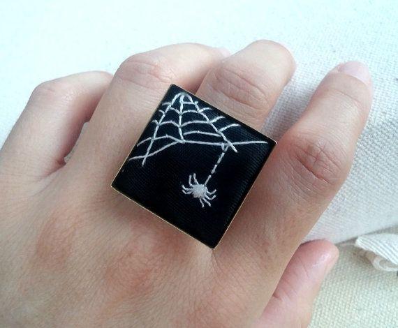 Черный и белый вышитый паук кольца необычные украшения на Хэллоуин кольцо готическом кольцо жутко симпатичные кольца