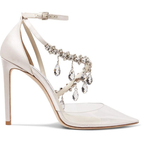 Off-WhiteC/o Jimmy Choo Victoria Crystal-embellished Satin And Vinyl... ($2,115) ❤ liked on Polyvore featuring shoes, pumps, white, off white shoes, champagne satin pumps, satin pumps, champagne pumps and clear pumps