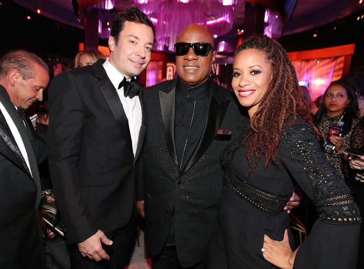 Jimmy Fallon, Stevie Wonder & Tomeeka Robyn Bracy from Golden Globes 2017 Party Pics  The evening's host caught up with the music icon and his girlfriend at the NBC after-party.