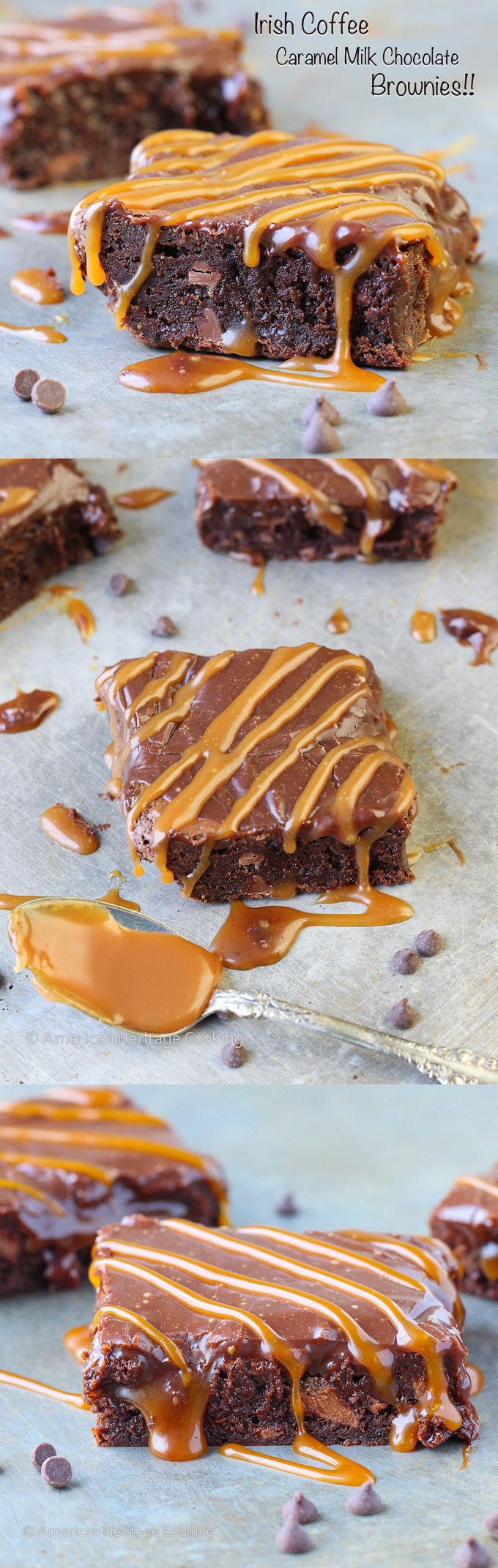 This Bailey's Irish Coffee Caramel Milk Chocolate Brownie is a decadent, fudgy double chocolate coffee brownie with salted caramel inside and drizzled on top of the Bailey's ganache! Perfect for St. Patrick's Day or any day!