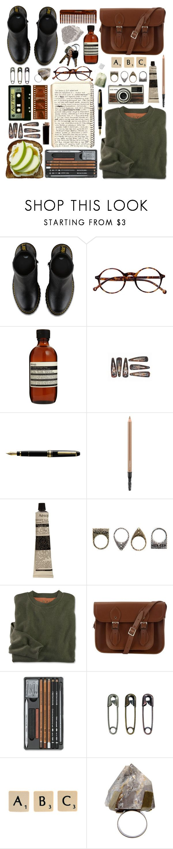 """Always Ready"" by quartzkid ❤ liked on Polyvore featuring Dr. Martens, Retrò, Aesop, HOMMAGE, MAC Cosmetics, Pull&Bear, The Cambridge Satchel Company, Tim Holtz, Michele and Rock 'N Rose"