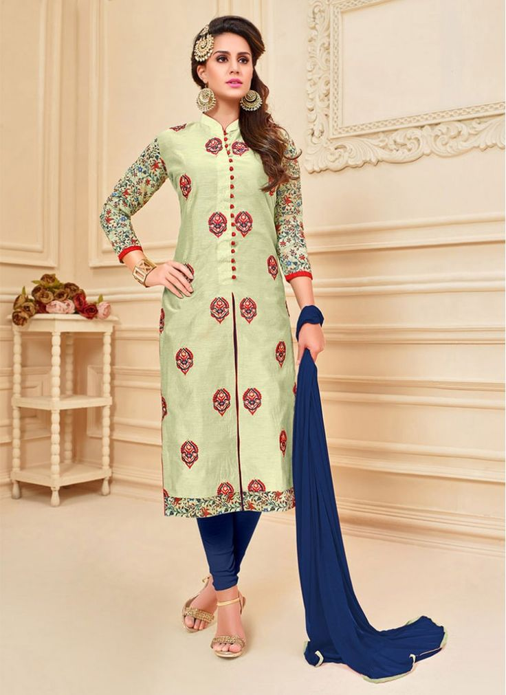 Chanderi Cotton Cream and Blue Colored Indian Churidar Suit