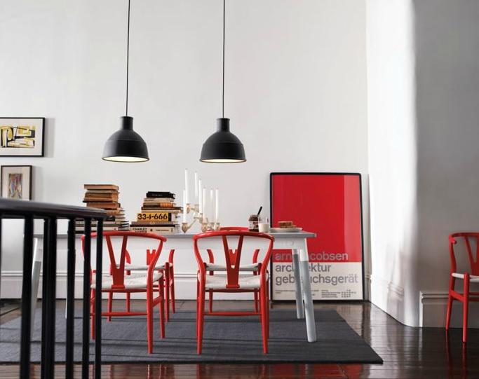 Wishbone Chair in DWR Exclusive Red.  Designed by Hans J. Wegner for Carl Hansen & Son. #HansWegner #WishboneChair #CarlHansonandSon #diningroom: Dining Rooms, Wishbone Chairs, Pendants Lamps, Dining Chairs, Red Chairs, Pendants Lights, Black White Red, Hans Wegner, Red Black