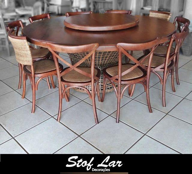 Stof Lar Decorações - Móveis em Madeira de Demolição : Mesa redonda Escura C/ Base Carretel + Cadeiras Paris e Nice