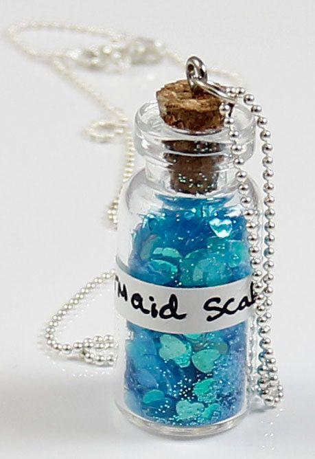 Mermaid Scales Bottle Necklace - Miniature Vial Necklace. $22.00, via Etsy.