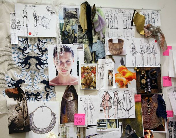 """Monika Chiang """"Luxe Athleticism"""" mood board - fashion & jewellery drawings, design, creative process"""