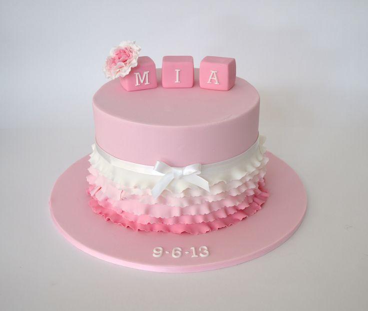Girls Ombré Ruffle Christening Cake