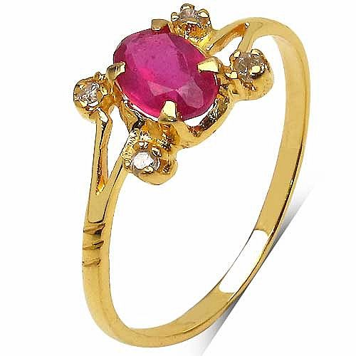 Online Jewellery designs shopping? 0.75CTW Genuine Ruby & White Diamond 10K Yellow Gold Ring