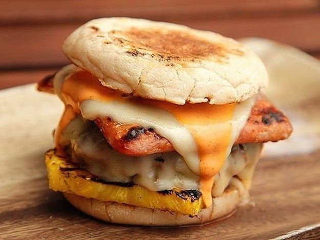 Slathered with sriracha mayo and snuggled between two English muffins. | 21 Sexy Ways To Eat Spam