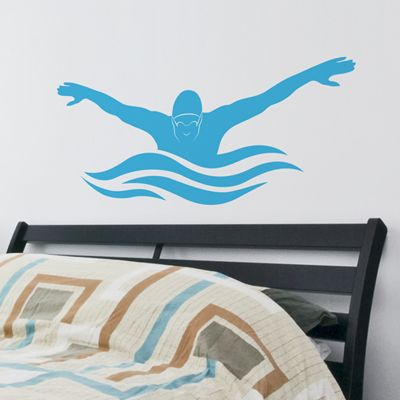 Butterfly Stroke - Male Swimmer - Wall Decals Stickers Graphics