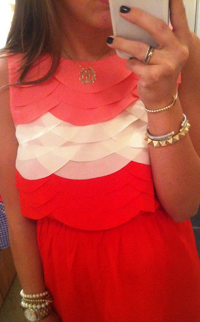 I NEED THIS.: Fashion, Style, Dream Closet, Color, Cute Dresses, Outfit, Scalloped Dress, Monogram Necklace