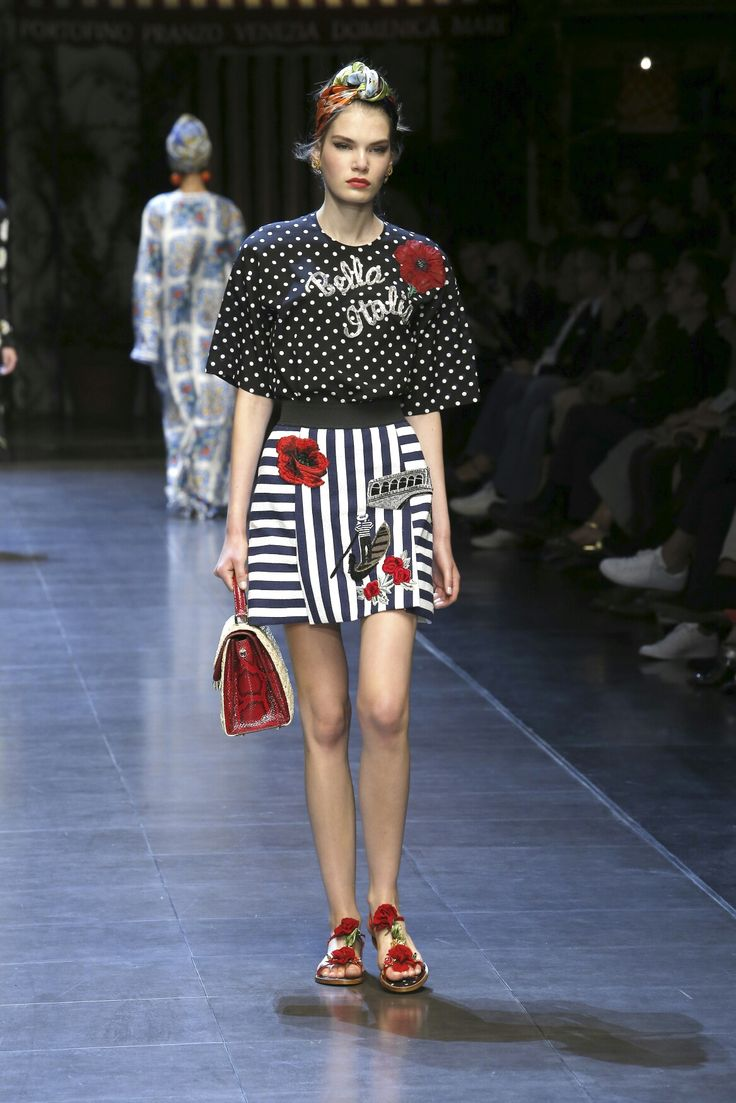 Dolce & Gabbana Summer 2016 ❤#italiaislove Women's Fashion Show. A very Fashion Trend Polka Dots combined with Sailor Stripes. More insights on @dolcegabbana.